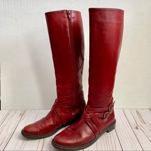 Cole Haan red leather riding boots sample size 6